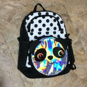 Kid's backpack & holographic panda bear lunchbox
